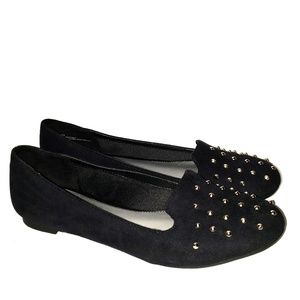 Fergalicious black flats with metal spikes 8.5